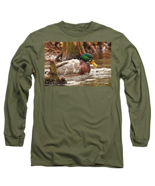 Long Sleeve T-Shirt featuring the photograph Mallard Duck Taking Bath by Luana K Perez