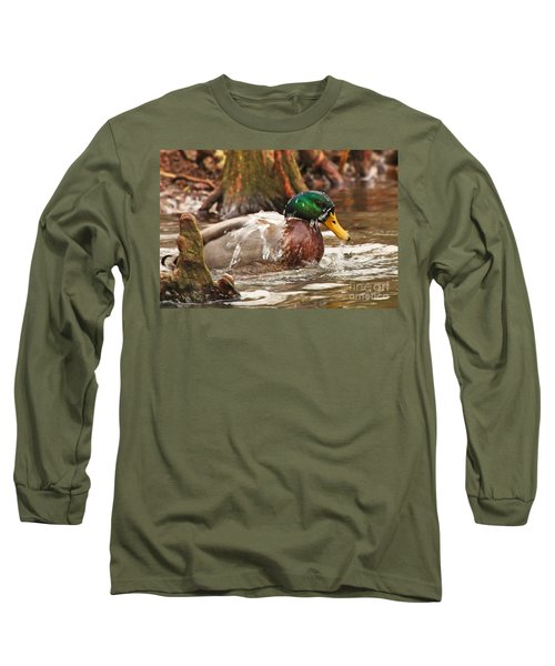 Mallard Duck Taking Bath Long Sleeve T-Shirt