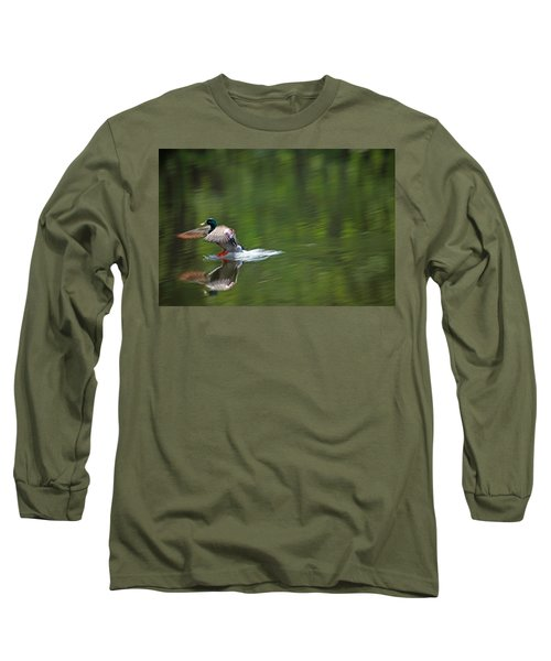 Mallard Splash Down Long Sleeve T-Shirt by Karol Livote