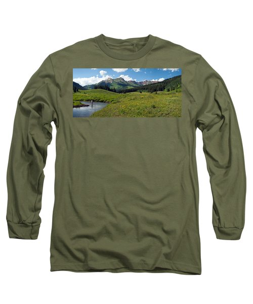 Man Fly-fishing In Slate River, Crested Long Sleeve T-Shirt