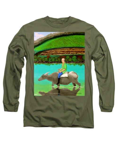 Man Riding A Carabao Long Sleeve T-Shirt by Cyril Maza