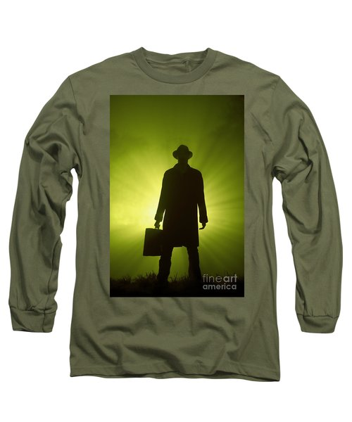 Long Sleeve T-Shirt featuring the photograph Man With Case In Green Light by Lee Avison