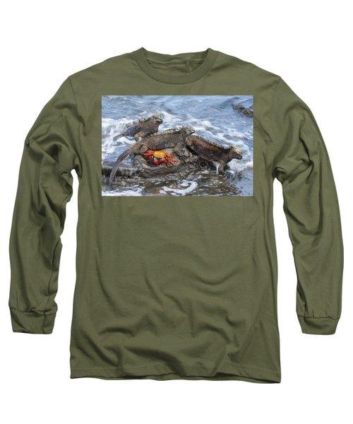 Marine Iguana Trio And Sally Lightfoot Long Sleeve T-Shirt