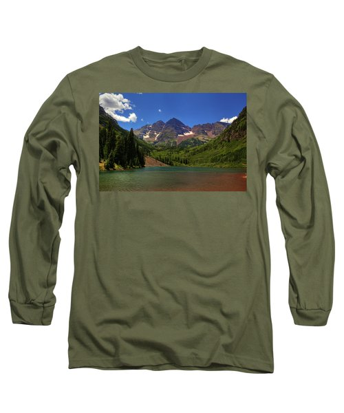 Long Sleeve T-Shirt featuring the photograph Maroon Bells From Maroon Lake by Alan Vance Ley