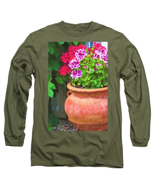 Long Sleeve T-Shirt featuring the photograph Martha Washington Geraniums In Textured Clay Pot by Sandra Foster
