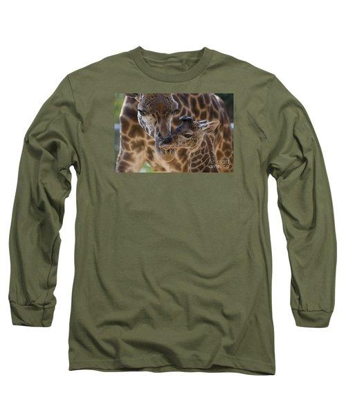 Masai Giraffe And Calf Long Sleeve T-Shirt
