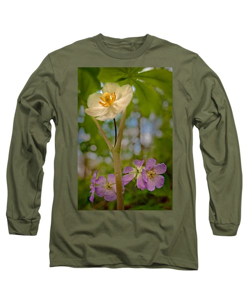 May Apples And Wild Geraniums Long Sleeve T-Shirt