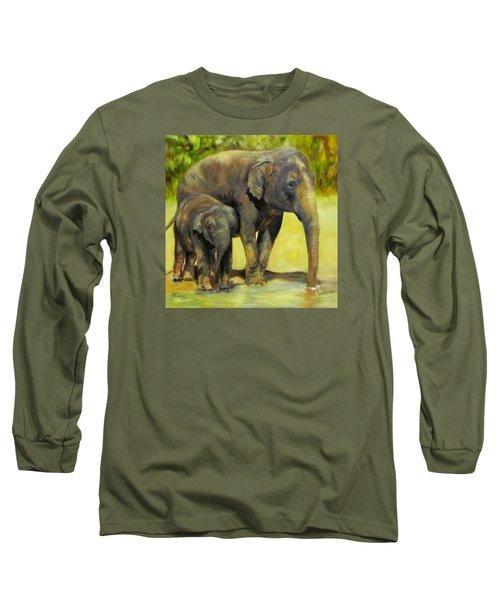 Thirsty, Methai And Baylor, Elephants  Long Sleeve T-Shirt