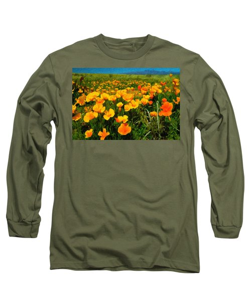 Long Sleeve T-Shirt featuring the digital art Mexican Poppies by Chuck Mountain
