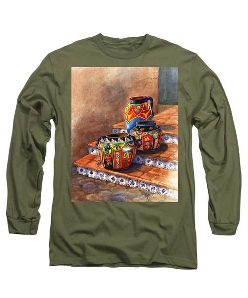 Mexican Pottery Still Life Long Sleeve T-Shirt by Marilyn Smith