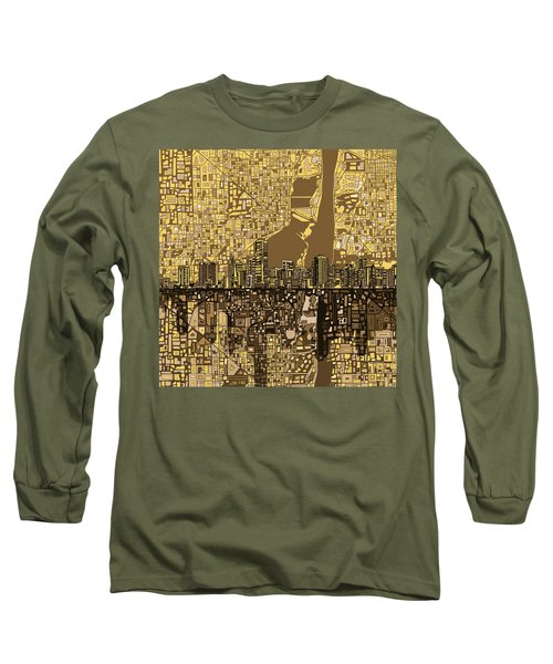 Miami Skyline Abstract 6 Long Sleeve T-Shirt by Bekim Art