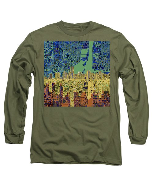 Miami Skyline Abstract 7 Long Sleeve T-Shirt by Bekim Art