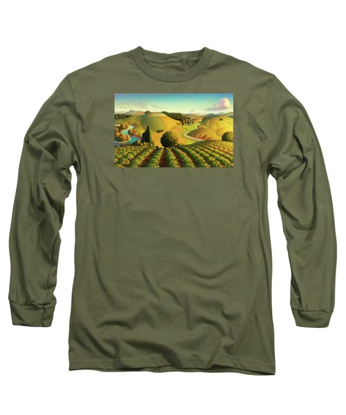 Long Sleeve T-Shirt featuring the painting Midwest Vineyard by Robin Moline