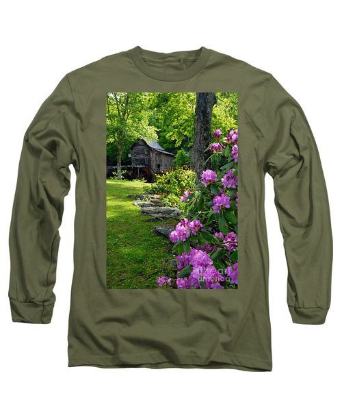 Mill And Rhododendrons Long Sleeve T-Shirt