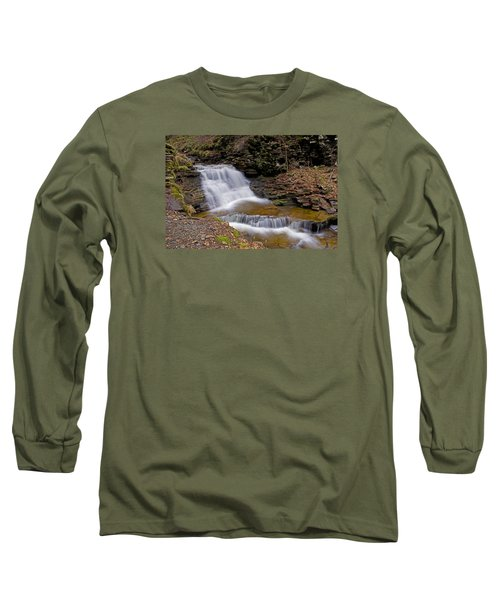 Mohican Falls In Spring Long Sleeve T-Shirt by Shelly Gunderson