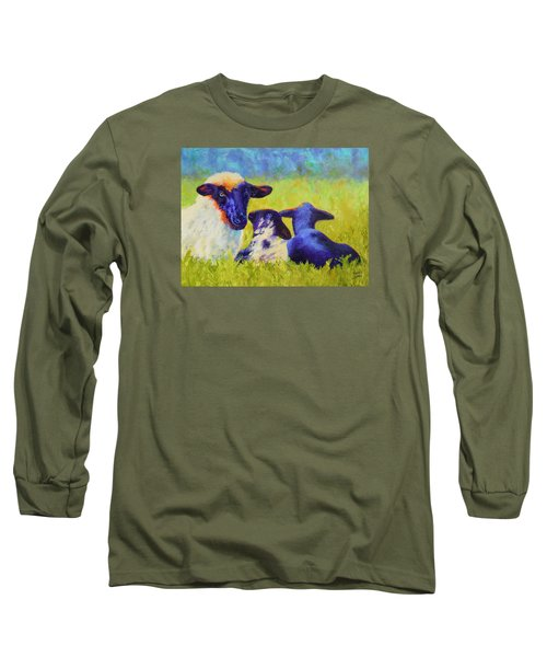 Long Sleeve T-Shirt featuring the painting Mom And The Kids by Nancy Jolley