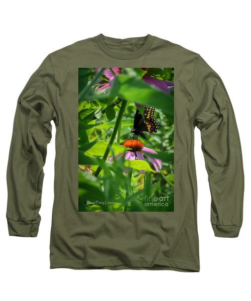 Monarch Butterfly Deep In The Jungle Long Sleeve T-Shirt by David Perry Lawrence