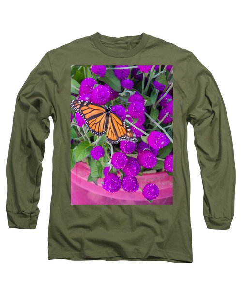Monarch On Bachelor Buttons Long Sleeve T-Shirt