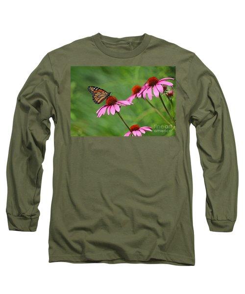 Monarch On Garden Coneflowers Long Sleeve T-Shirt