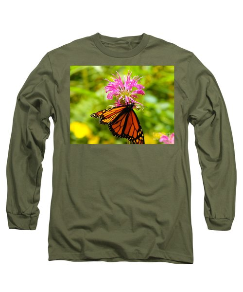 Monarch Under Flower Long Sleeve T-Shirt