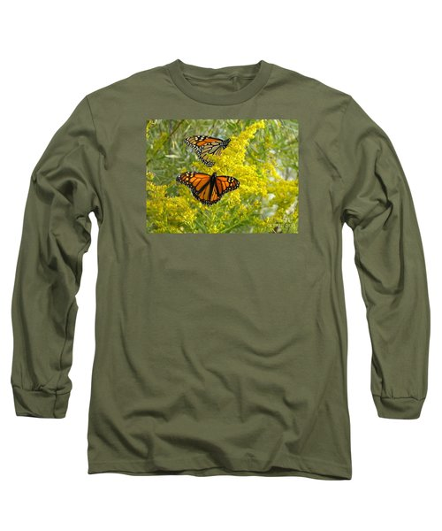 Monarchs On Goldenrod Long Sleeve T-Shirt by Susan  Dimitrakopoulos