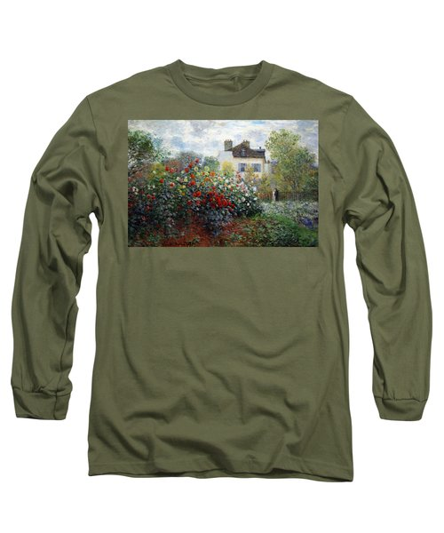 Long Sleeve T-Shirt featuring the photograph Monet's The Artist's Garden In Argenteuil  -- A Corner Of The Garden With Dahlias by Cora Wandel