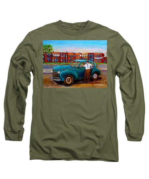 Montreal Taxi Driver 1940 Cab Vintage Car Montreal Memories Row Houses City Scenes Carole Spandau Long Sleeve T-Shirt by Carole Spandau