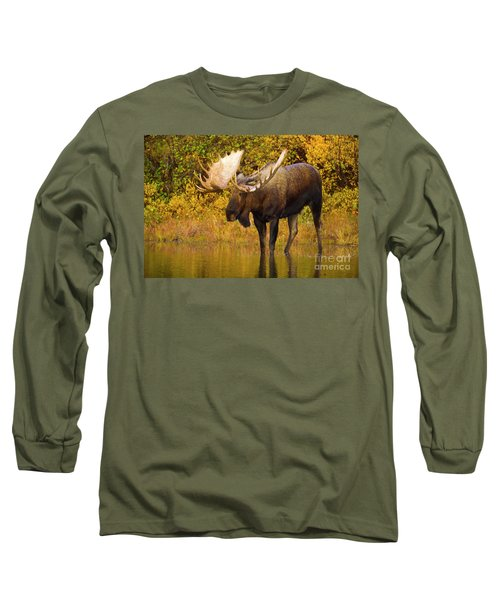 Moose In Glacial Kettle Pond  Long Sleeve T-Shirt