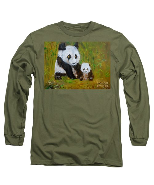 Long Sleeve T-Shirt featuring the painting Mother And Baby Panda by Jenny Lee