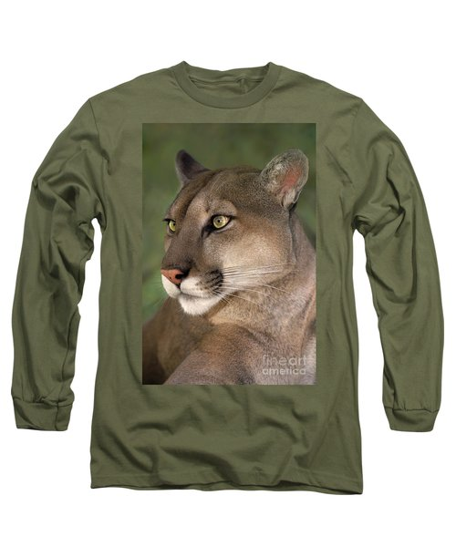 Mountain Lion Portrait Wildlife Rescue Long Sleeve T-Shirt by Dave Welling