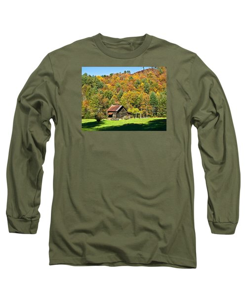 Long Sleeve T-Shirt featuring the photograph Mountain Log Home In Autumn by Susan Leggett