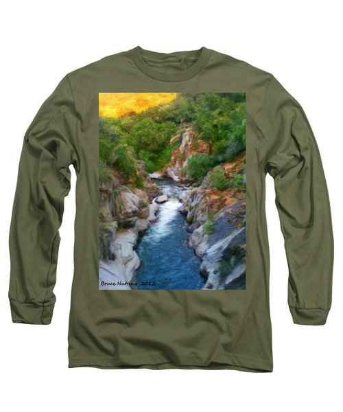 Long Sleeve T-Shirt featuring the painting Mountain Stream by Bruce Nutting