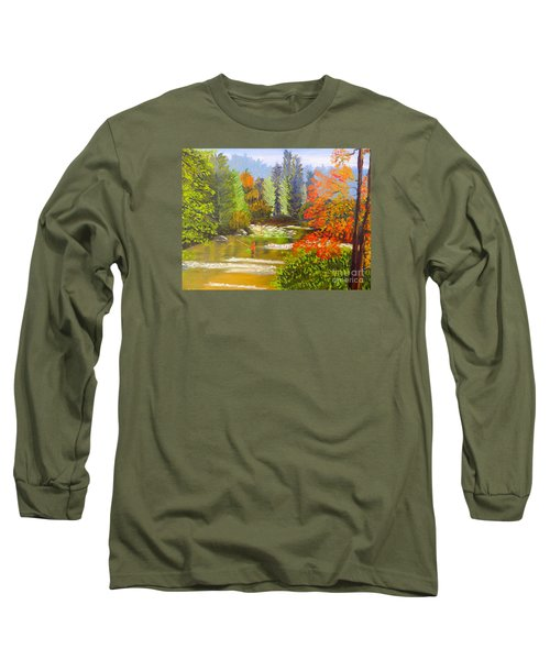 Long Sleeve T-Shirt featuring the painting Mountain Stream by Pamela  Meredith