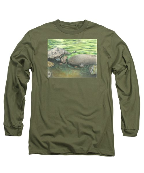 Long Sleeve T-Shirt featuring the drawing Mountain Stream by Troy Levesque