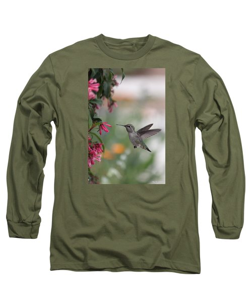 Long Sleeve T-Shirt featuring the photograph Mrs. Little Anna's Hummingbird by Amy Gallagher