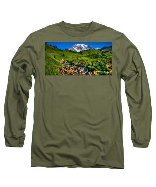 Long Sleeve T-Shirt featuring the photograph Mt. Rainier Stream by Chris McKenna