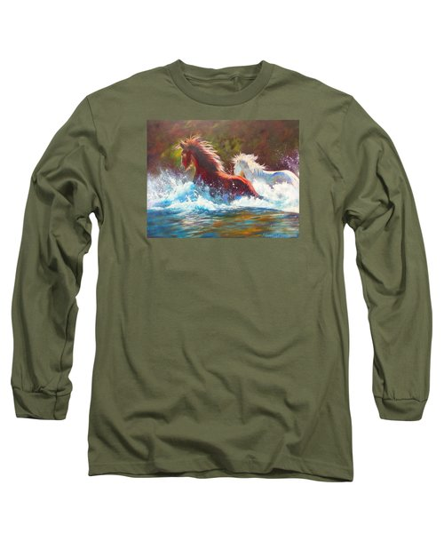Mustang Splash Long Sleeve T-Shirt by Karen Kennedy Chatham