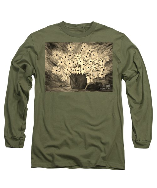 Long Sleeve T-Shirt featuring the painting My Daisies Sepia Version by Ramona Matei