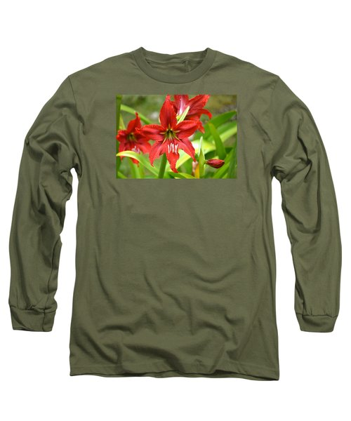 My Red Daylily...after The Rain Long Sleeve T-Shirt by Lehua Pekelo-Stearns