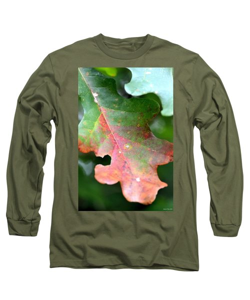 Natural Oak Leaf Abstract Long Sleeve T-Shirt by Maria Urso