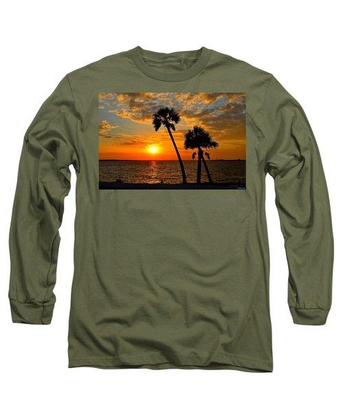 Navarre Beach Bridge Sunrise Palms Long Sleeve T-Shirt