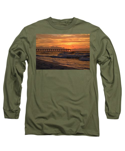 Navarre Pier At Sunrise With Waves Long Sleeve T-Shirt by Jeff at JSJ Photography