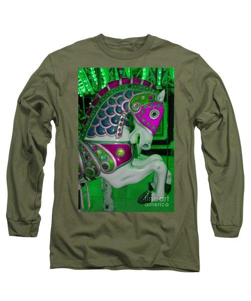 Neon Green Carousel Horse Long Sleeve T-Shirt