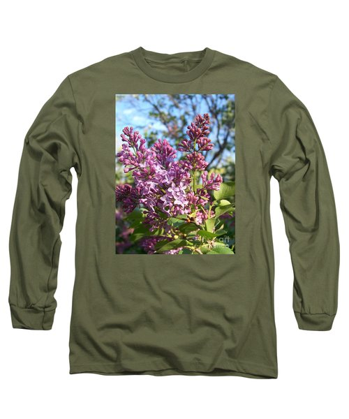 Purple Lilac Long Sleeve T-Shirt by Eunice Miller