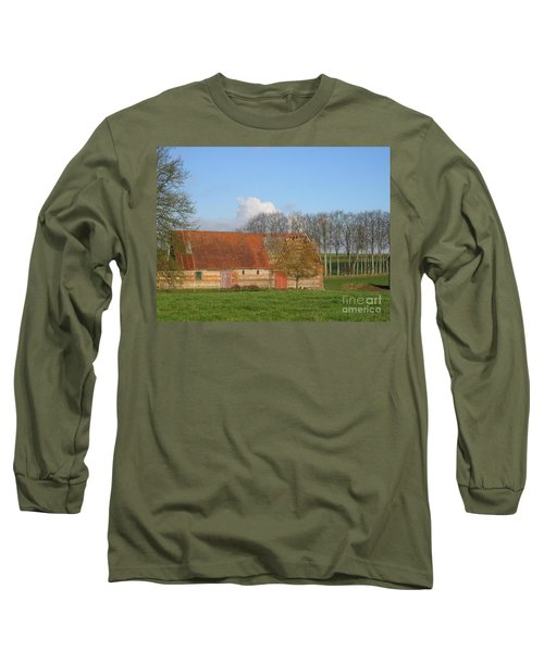 Long Sleeve T-Shirt featuring the photograph Normandy Storm Damaged Barn by HEVi FineArt