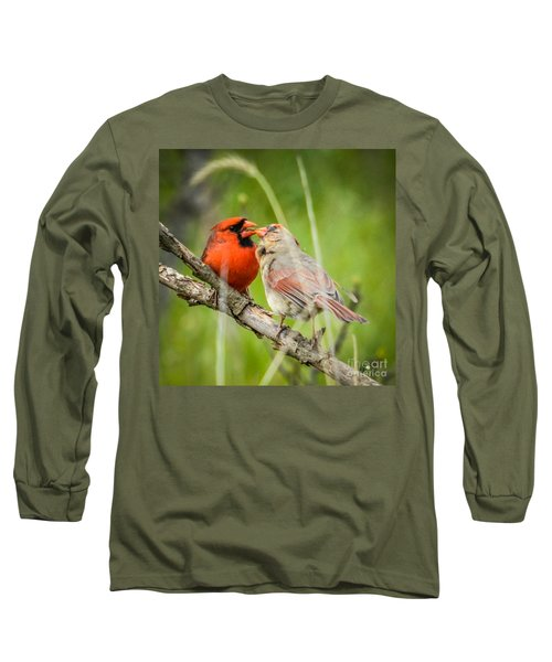Northern Cardinal Male And Female Long Sleeve T-Shirt
