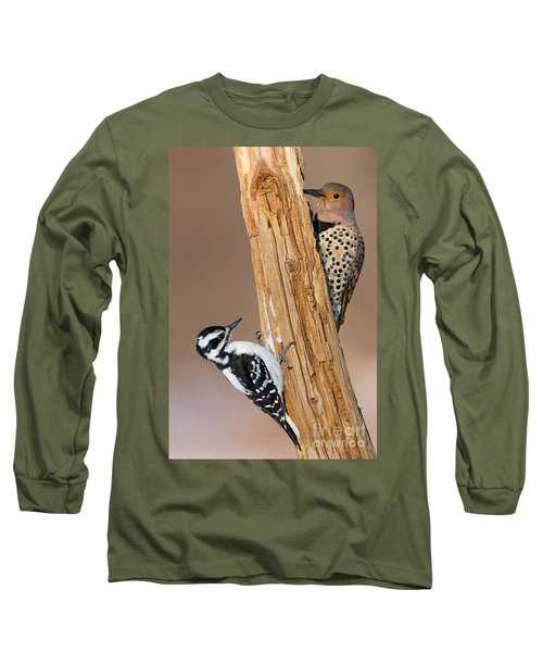 Northern Flicker And Hairy Woodpecker Long Sleeve T-Shirt