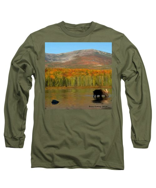 Long Sleeve T-Shirt featuring the painting Northwest Moose by Bruce Nutting