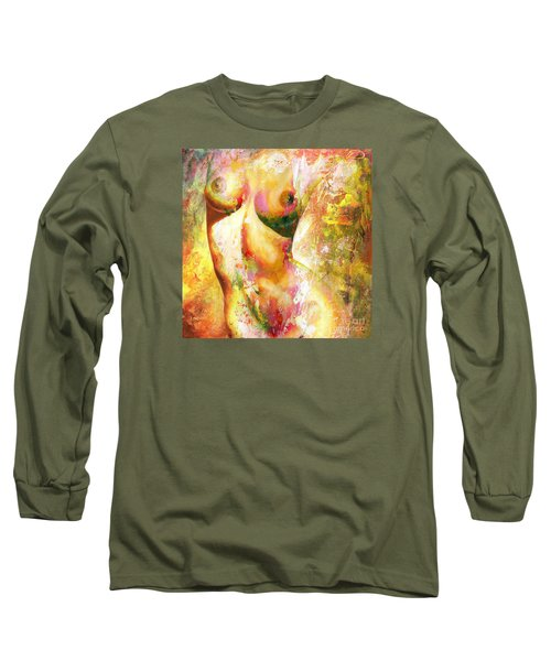 Nude Details - Digital Vibrant Color Version Long Sleeve T-Shirt by Emerico Imre Toth