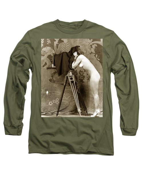 Nude In High Heel Shoes With Studio Camera Circa 1920 Long Sleeve T-Shirt by California Views Mr Pat Hathaway Archives
